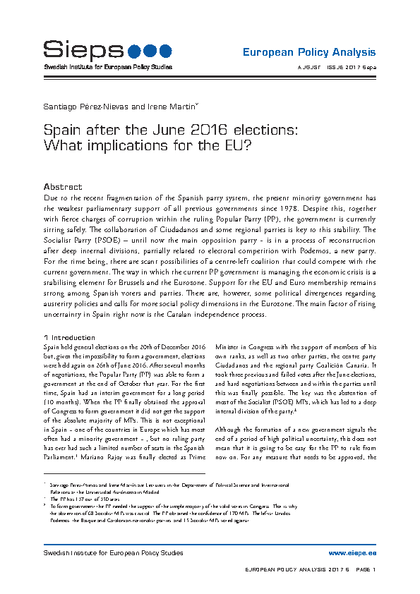 Spain after the June 2016 elections: What implications for the EU?