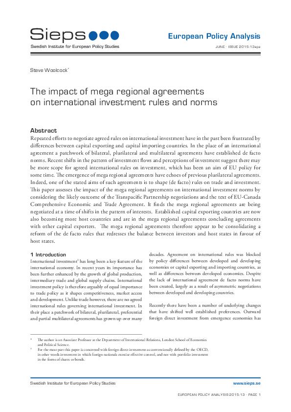 The Impact Of Mega Regional Agreements On International Investment
