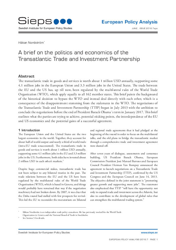 A Brief On The Politics And Economics Of The Transatlantic Trade And
