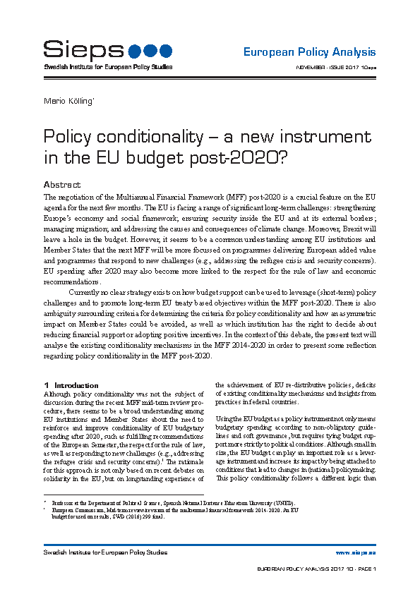 Policy conditionality – a new instrument in the EU budget post-2020?