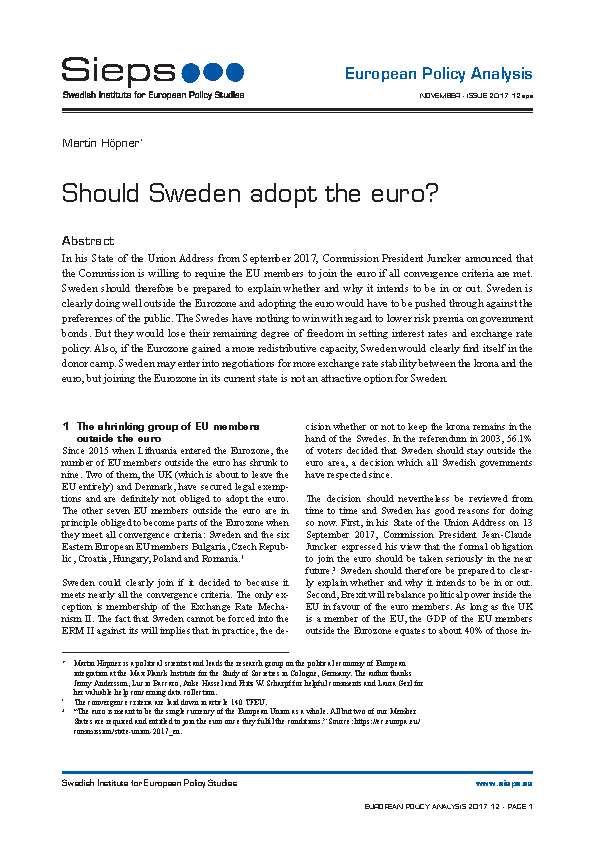 Should Sweden adopt the euro?
