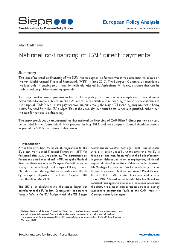 National co-financing of CAP direct payments