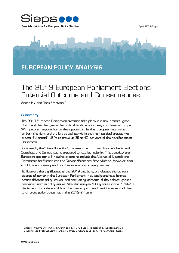 The 2019 European Parliament Elections:  Potential Outcome and Consequences