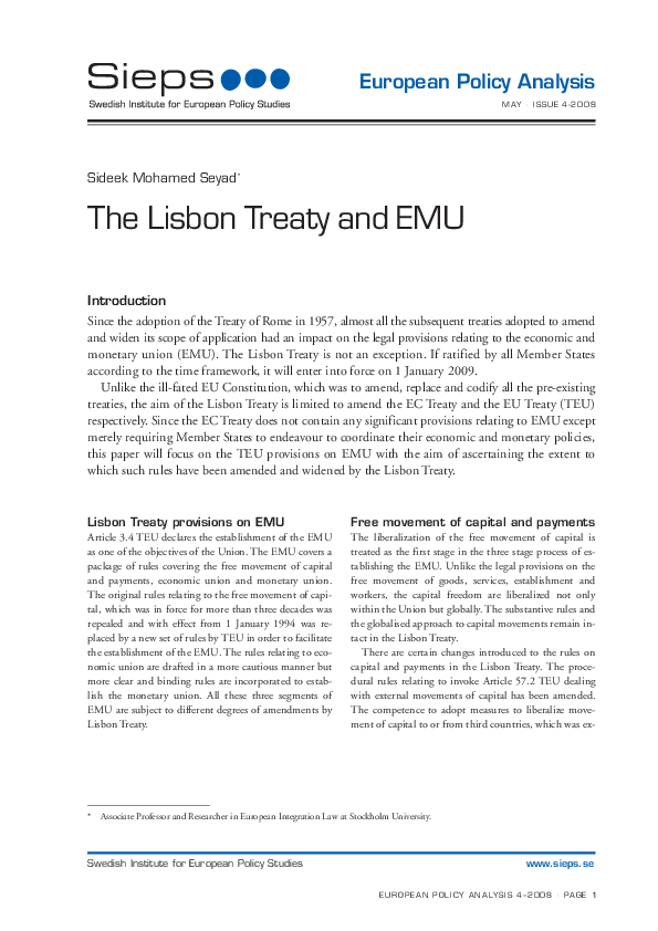 The Lisbon Treaty and EMU (2008:4epa)
