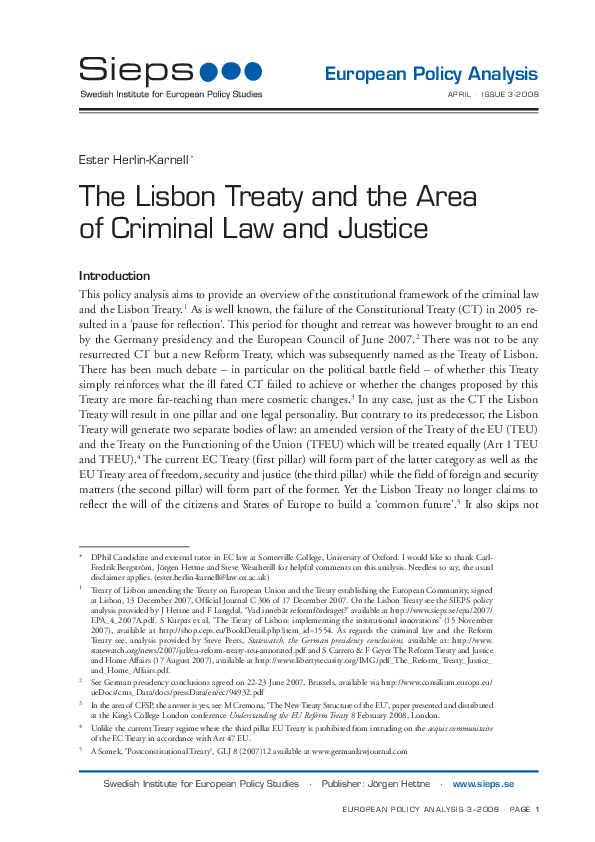The Lisbon Treaty and the Area of Criminal Law and Justice (2008:3epa)