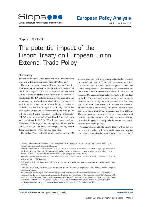 The potential impact of the Lisbon Treaty on European Union External Trade Policy(2008:8epa)