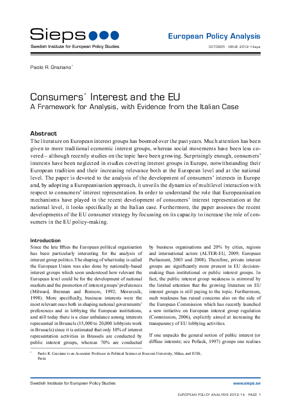 Consumer´s interest and the EU: a framework for analysis, with evidence from the Italian case