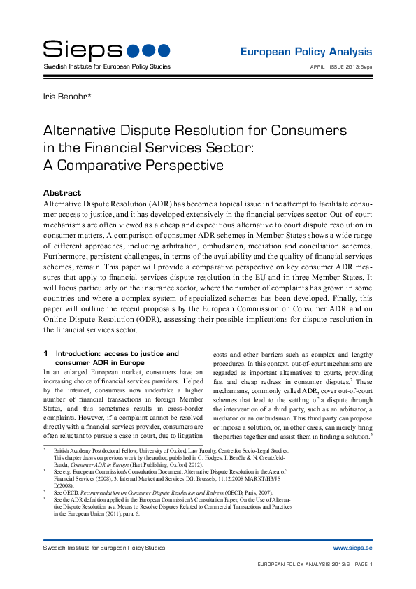 Alternative Dispute Resolution for Consumers in the Financial Services Sector: A Comparative Perspective