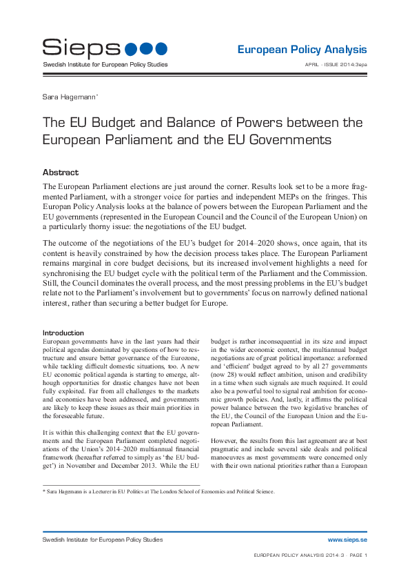 The EU Budget and Balance of Powers between the European Parliament and the EU Governments (2014:3epa)