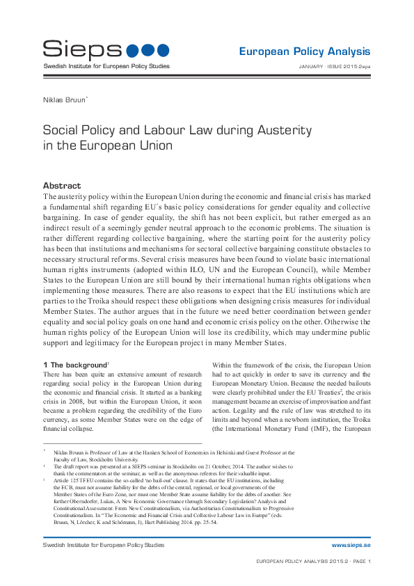 Social Policy and Labour Law during Austerity in the European Union
