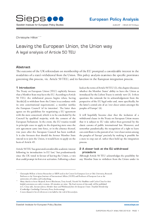 Leaving the European Union, the Union way: A legal analysis of Article 50 TEU