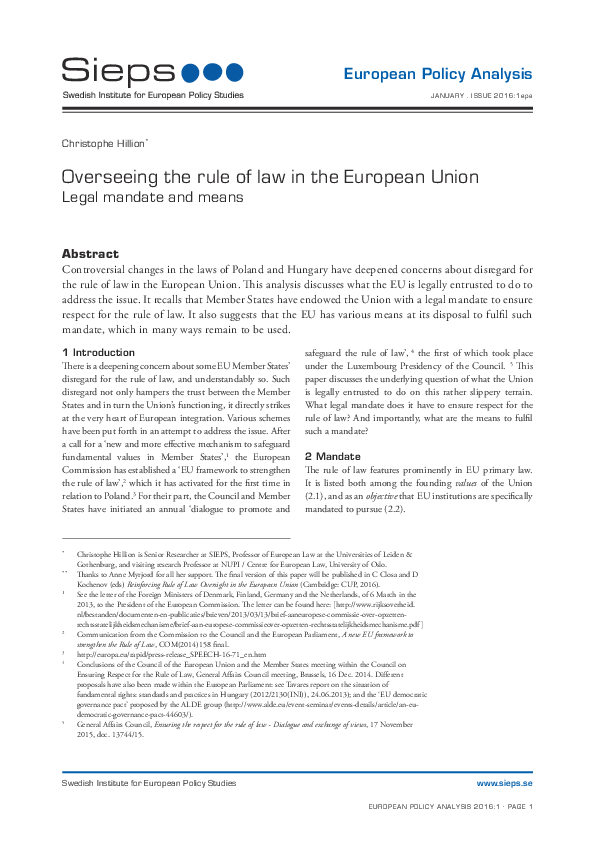 Overseeing the rule of law in the European Union: Legal mandate and means