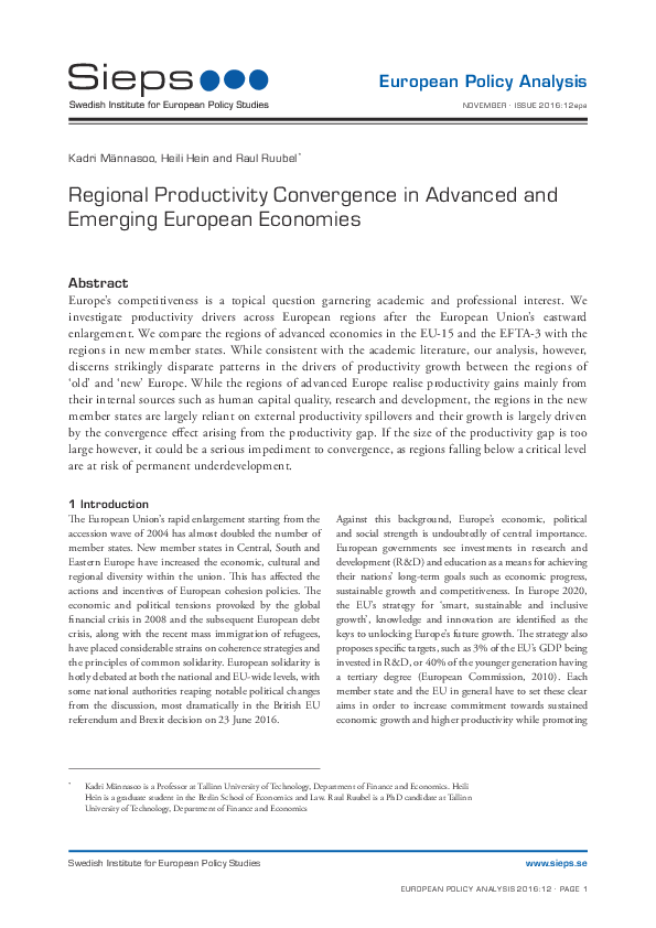 Regional Productivity Convergence in Advanced and Emerging European Economies