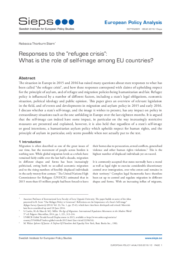 "Responses to the ""refugee crisis"": What is the role of self-image among EU countries?"
