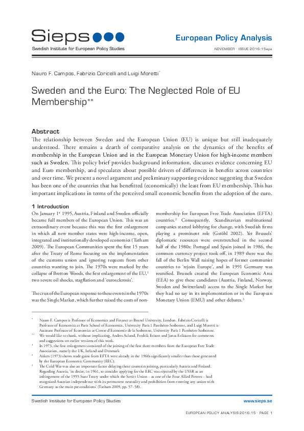 Sweden and the Euro: The Neglected Role of EU Membership