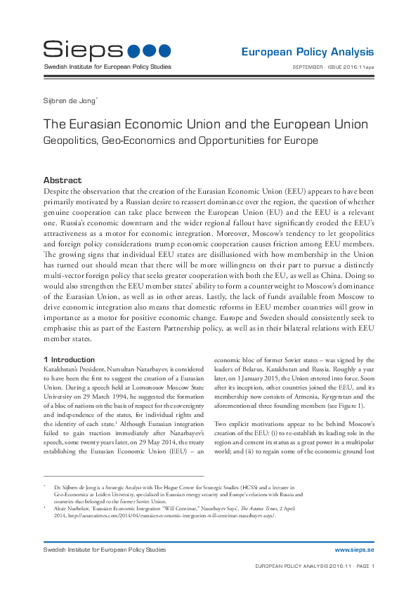 The Eurasian Economic Union and the European Union: Geopolitics, Geo-Economics and Opportunities for Europe