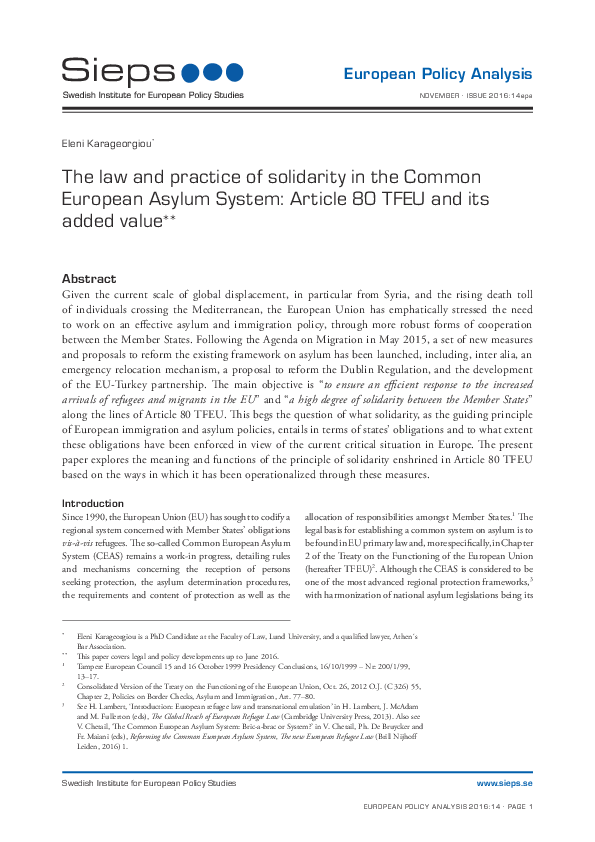 The law and practice of solidarity in the Common European Asylum System: Article 80 TFEU and its added value