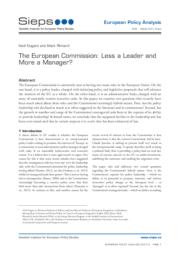 The European Commission: Less a Leader and More a Manager?